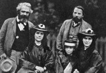Marx, sus hijas Jenny, Eleanor y Laura, y Engels.