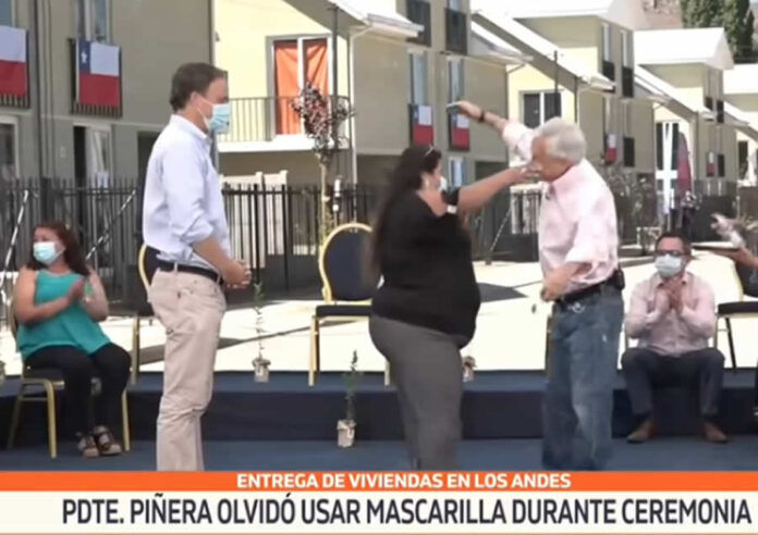 Presidente Piñera sin mascarilla