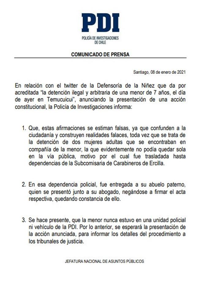 agresión pueblo mapuche, declaracion PDI, hija Catrillanca